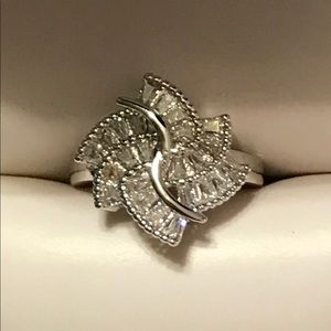 Jewelry - Handmade sterling silver white sapphire size 7.5